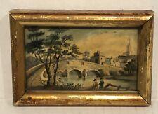 Antique Miniature European Watercolor Figures Walking To Town