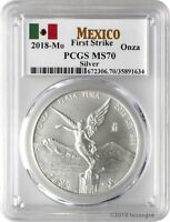 2018-Mo Onza Mexico Silver Libertad .999 Silver Coin PCGS MS70 First Strike