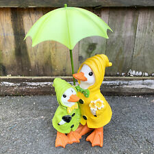 Resin Mum Mother & Baby Duck With Brolly Figurine Decorative Statue Ornament New