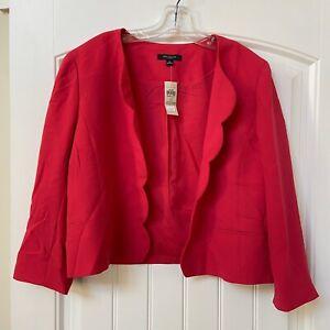 NWT Womens Ann Taylor Blazer Pink Scalloped Trim Polyester Sz 12