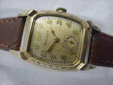 Vintage GOLD FD large antique Art Deco BULOVA ENGRAVED CURVEX mens watch