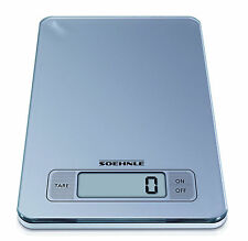 Soehnle SLIM Grey DIGITAL KITCHEN SCALES Silver Food Touch Glass Weighing Postal