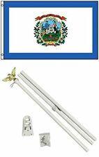 3x5 State of West Virginia Flag White Pole Kit Set 3'x5'