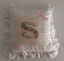 "Pillow Monogram ""S"" Pink Ribbon Floral Cross-Stitch Eyelet Dotted Swiss - WOW"