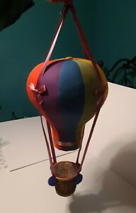 Large Vintage Hot Air Balloon Plush Stuffed Hanging Toy With Wicker Basket