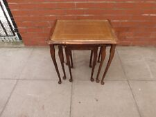 A Nest Of Brown Leather Inlay Tables ***DELIVERY AVAILABLE***