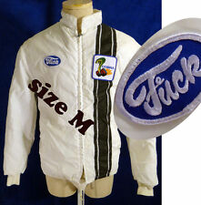 Vintage FORD racing jacket stripe faux fur lined patch cafe cobra mustang parody