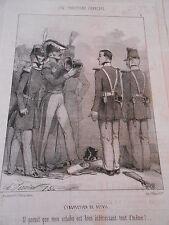 Caricature 19ème Les Troupiers Francais L'inspection de détail Mon Schako