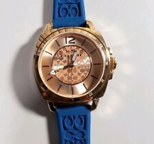 Coach Boyfriend Watch With 34m Rose Gold Face & Teal Blue Rubber Strap