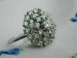 3.20 Ct Round Cut Diamond Vintage Cocktail Cluster Ring 14K White Gold Over