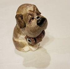 Vintage Ceramic Saint Bernard Dog Scissors holder with Barrel Figurine