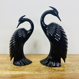 Pair of Vintage 80s Ceramic Black Heron Bird Figures Crane Egrets Art Deco Style