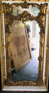Louis XV Antique Trumeau Mirror , Gilded Wood , Intricate Trumeau Mirror  Crated
