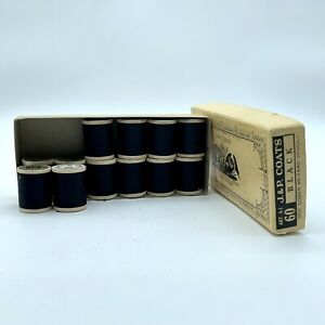 J&P Coats 60yd Black Spools (12pc) in Box-Vintage New Old Stock