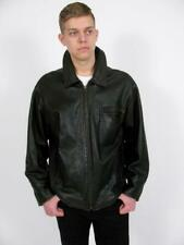 ROOTS CANADA BLACK PEBBLE LEATHER HANDCRAFTED MANS CLASSIC JACKET CAR COAT~XL