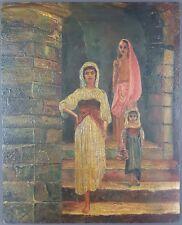 """Ancien Tableau """"Scène Orientaliste"""" Peinture Huile Antique Oil Painting"""