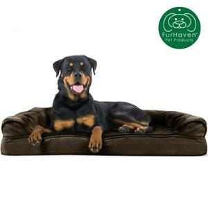 Orthopedic Ultra Plush Sofa Style Couch Pet Bed for Dogs Cats Espresso Jumbo