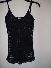Vest size 6-8 small new look black lined beaded party new womens top ladies