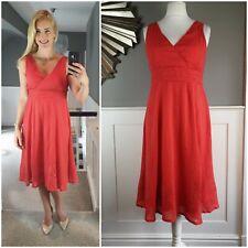 JOHN ROCHA Dress Size 12 Crinkle V Neck Midi Fit & Flare Sequin Summer VGC