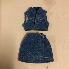 """1/6 Scale Custom Faux Denim Sleeveless Shirt Jacket Dress Skirt for 12"""" Doll"""