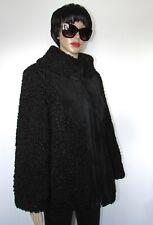 VTG BEAUTIFUL  REAL  BLACK PERSIAN LAMB/ SUEDE TRIM FUR COAT  SZ M BUST  40