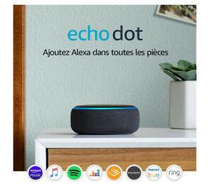 Echo Dot 3ème Génération Enceinte Connectée Alexa Assistant Anthracite Neuf