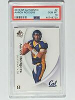 2010 SP Authentic #2 Card AARON RODGERS CAL Green Bay Packers - PSA GEM MINT 10