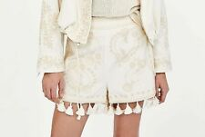 ZARA WOMEN CREAM EMBROIDERED SHORTS WITH TASSELS NEW WITH TAG SIZE M