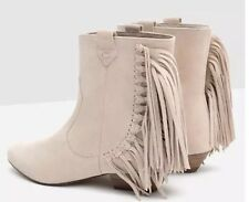 ZARA Beige Goat Suede Leather Ankle Boots with side Fringe Cowboy Booties Sz 6