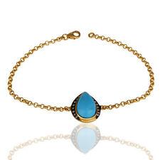Handmade Turquoise CZ Chain Bracelet 925 Sterling Silver Gemstone Jewelry