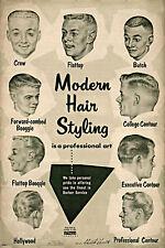 Vintage Ad Modern Hair Styling Chart Barbershop Haircut Drawings Barber Poster