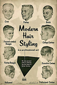 Vintage Ad Modern Hair Styling Chart Barbershop Haircut Drawings Barber Poster