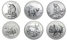 2011 2012 2013 Canada Wild Life UNC Complete Box Set 6x 1oz SILVER  .9999 coins