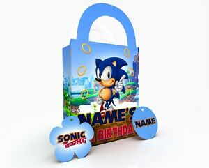 Personalised Sonic The Hedgehog Party Bag Gift Favour Box Treat Bag Blue