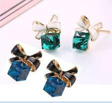 Earrings Stud Crystal Women Fashion Jewellery Rhinestone Gold Bow Dangle Korean