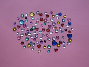 SALE!! 100 - PLASTIC RHINESTONE FLAT BACKS - HEARTS - ASSORTED COLORS & SIZES