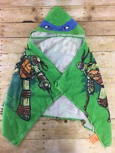 TMNT Hooded Bath Towel Childrens Toddler Kids Ninja Turtles 19x45 Beach Pool