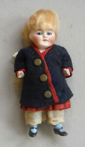 Antique All Bisque Dollhouse Miniature Doll Fixed Glass Eyes Closed Mouth P1578