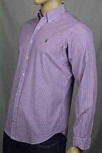 Ralph Lauren Purple Cream Striped Classic Dress Shirt Green Pony NWT