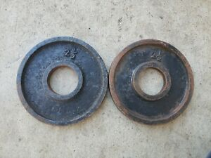 """Vintage Deep Dish 2.5 LB 2"""" Olympic Weight Plates weights ben ? York used ivanko"""