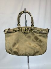 COACH 18650 MADISON OP ART SATEEN SOPHIA HAND BAG LIGHT Beige AND PYTHON