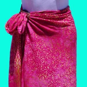 Brite Pink Hand Batik Sarong Pareo Wrap Full Size Rayon Beach Cover up FREE CLIP