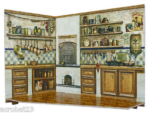 Room Box for Dolls KITCHEN Dollhouse Miniature Scale 1:12 Model Kit