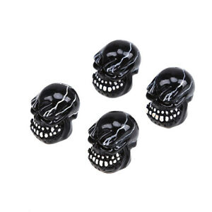4x Car Valve Stems Dust Caps Head Skeleton Bone Decor Tire Wheel Cover Universal
