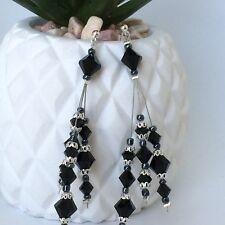 Ella Jane Earrings - Genuine Swarovski Crystals - Jet -Black - Wedding - Bridal