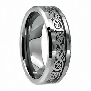 8mm Men's Stainless Steel Celtic Dragon Ring Carbon Fiber Band Jewelry Size 6-13