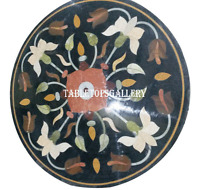 """30"""" Marble Round Dining Table Top Inlay Gemstone Marquetry Garden Decor H937A"""