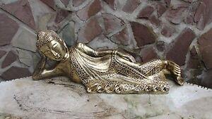 Buddha thailändisch liegend Naturharz schwarz mit Goldverzierung 40 cm