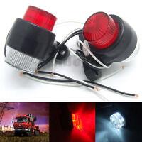 NEW 12V 24V 8 LED Red & White Side Marker Light Trailer Truck Lorry Caravan Lamp