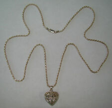 """Sterling Silver 30"""" Rope Necklace w Openwork 3D Heart Pendant 20.84 Grams # N293"""
